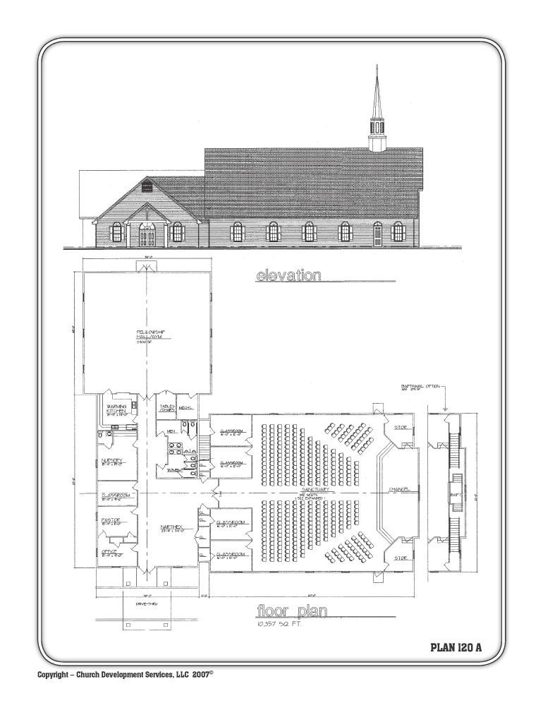 10,000 sq feet, 5 classrooms, nursery and fellowship hall