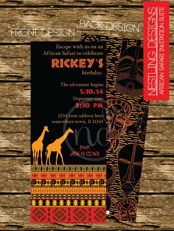 African safari invitation suite personalized