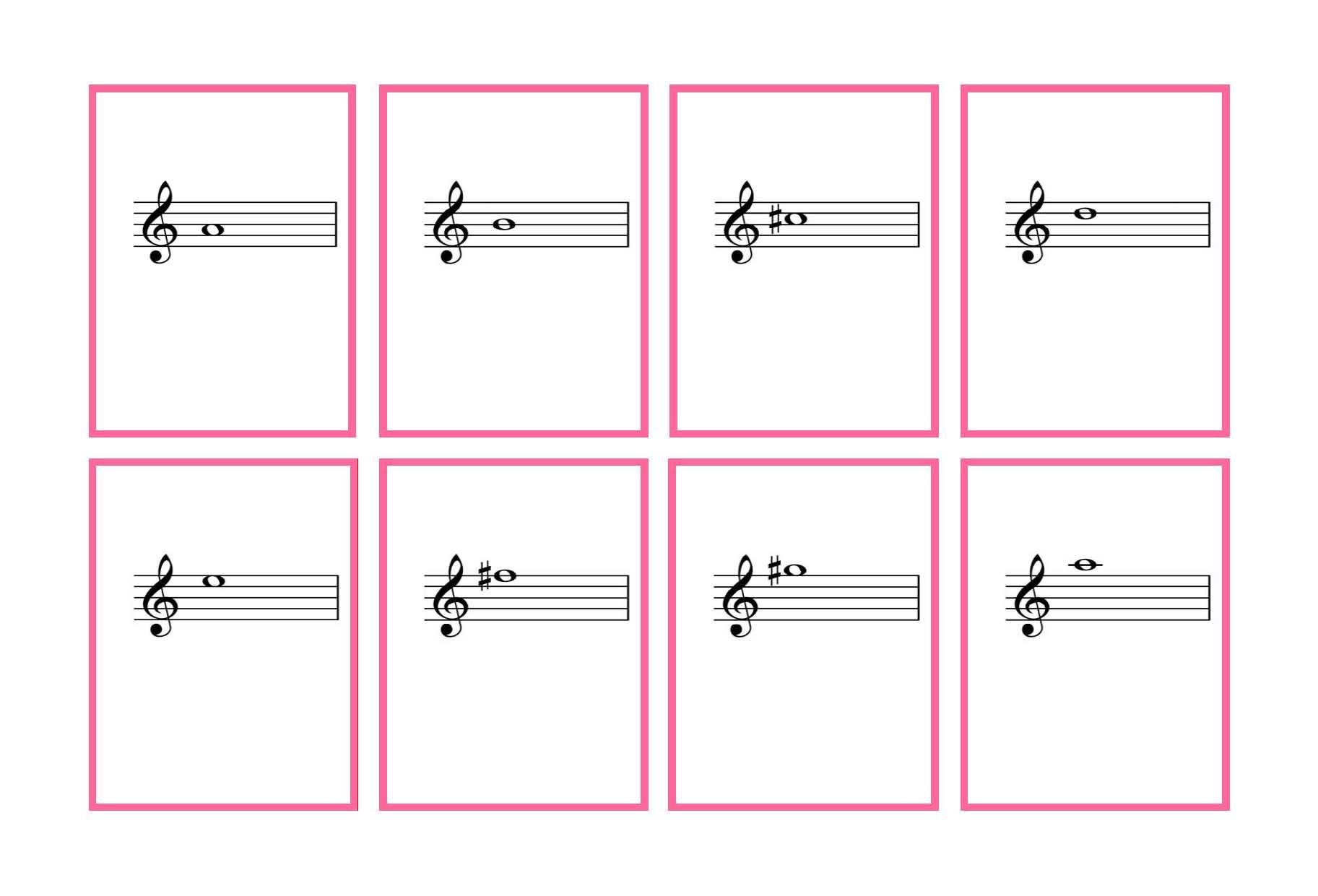 Music Note Flashcards Treble Clef Pictures