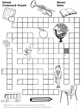 Back to School Crossword Puzzle, Speech Therapy Vocabulary