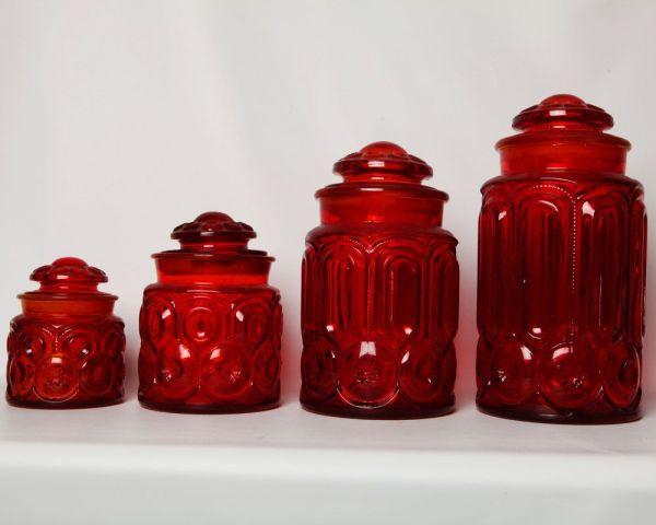 Vintage Red Glass Canister Set