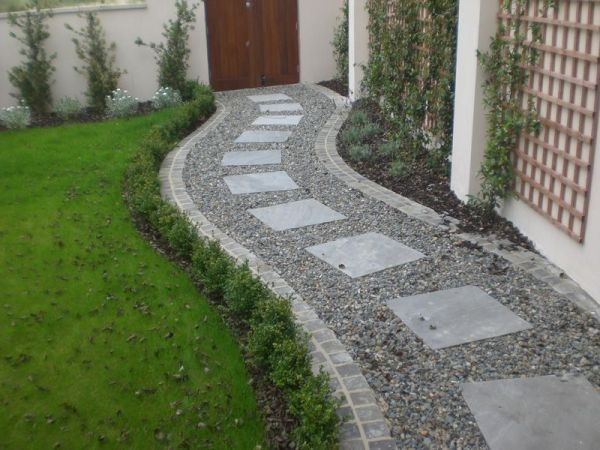 square paving stones in curving