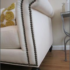 White Leather Sofa With Nailheads Stone Color Nail Head Trim Added To A Basic