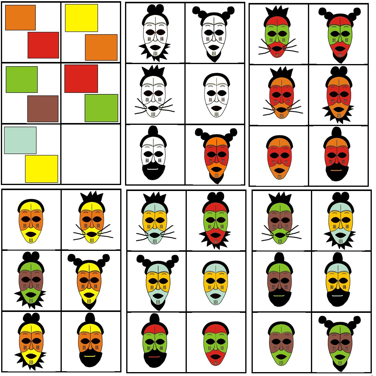 Matrix Kleuter Afrika Masker Combineren Met 2 Kleuren