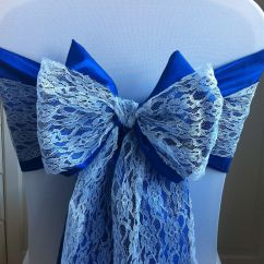 Yellow Spandex Chair Sashes Exercise While Sitting In Office White Cover With Royal Blue Bow And Lace