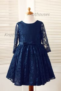 Long Sleeves Navy Blue Lace Flower Girl Dress Baby Girl