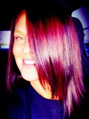 burgundy with red and plum highlights