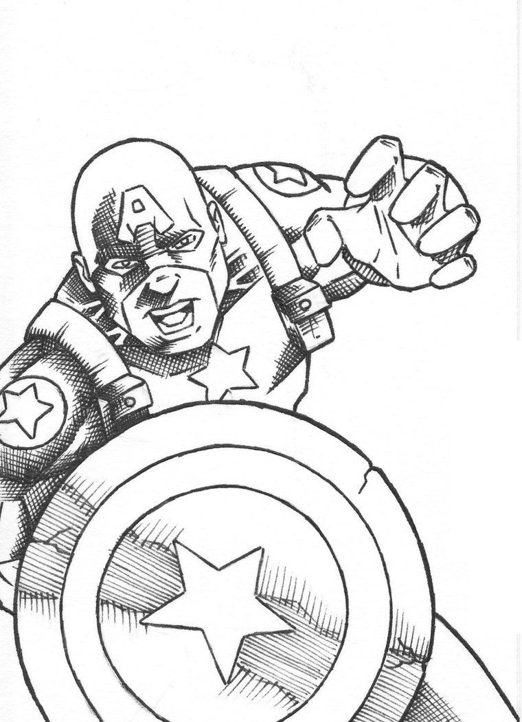Free Printable Superhero Captain America Coloring Pages