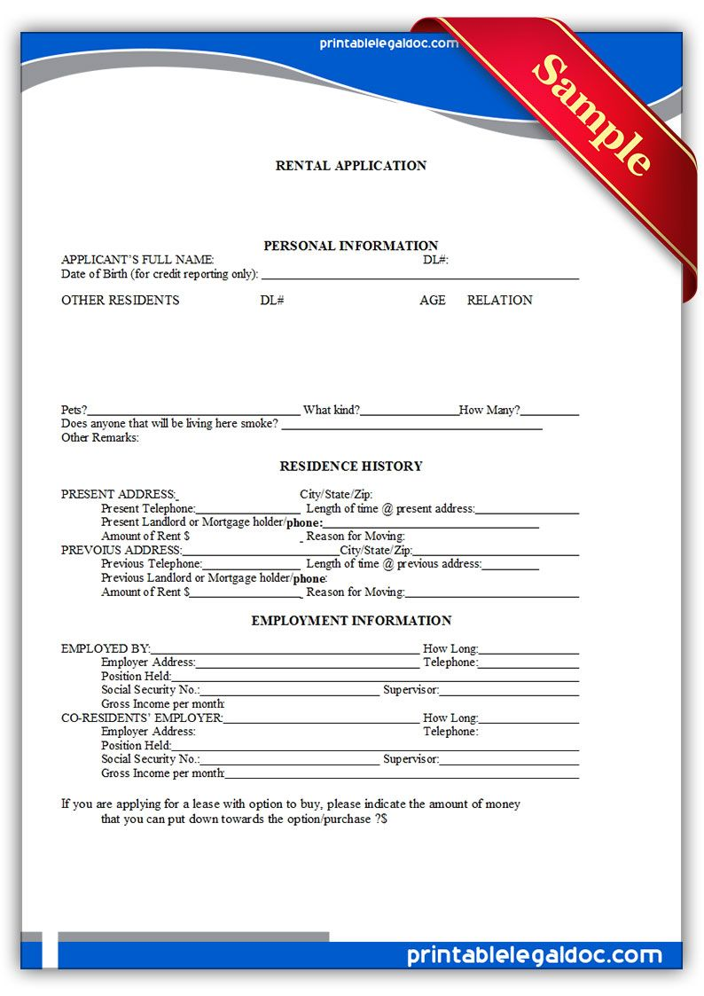 Printable Sample Tenant Rental Application Form