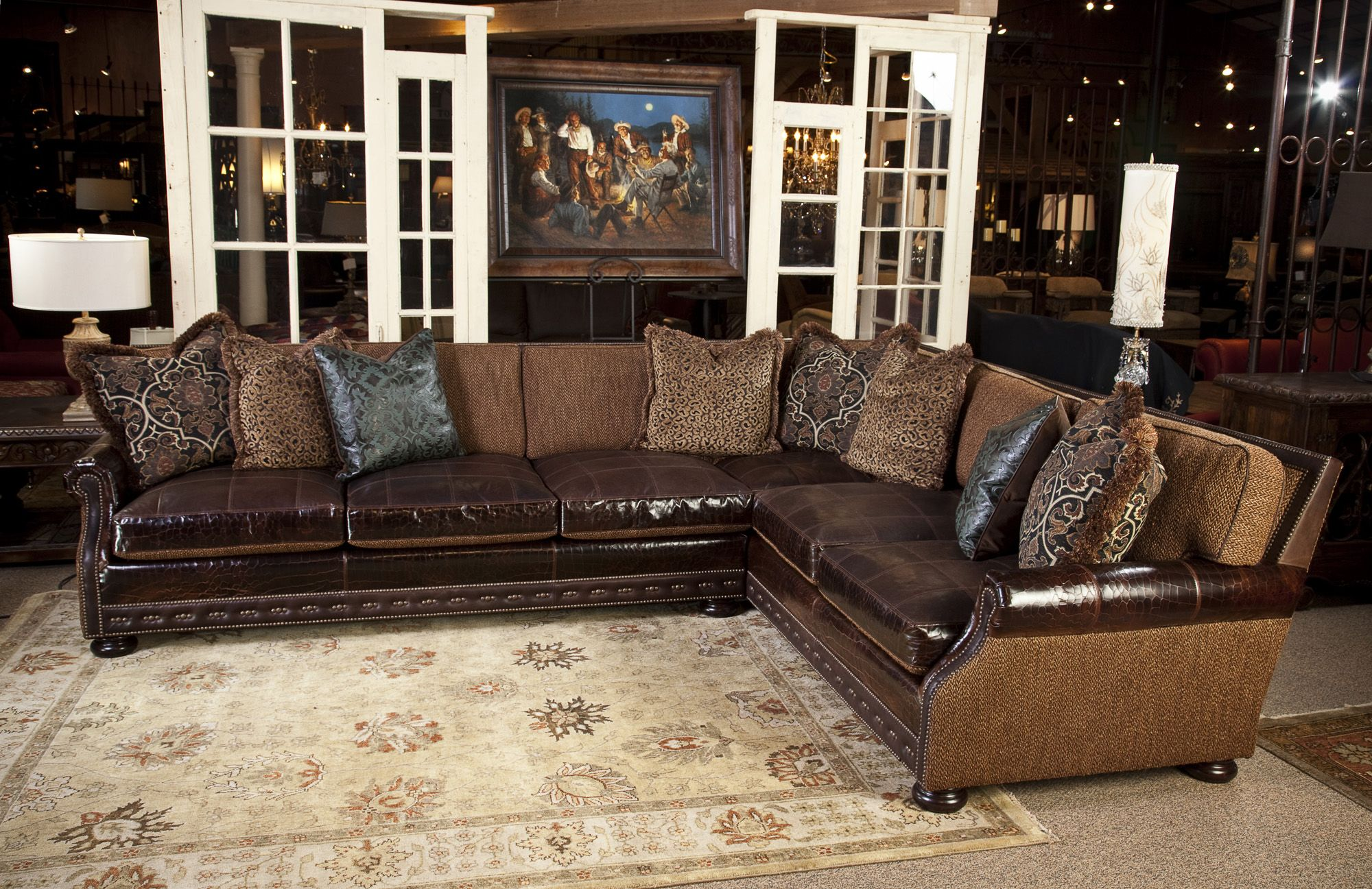 leather and fabric sofa in same room table cherry sally mae sectional sofas