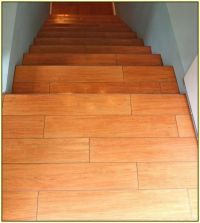 Wood Look Porcelain Tile On Stairs