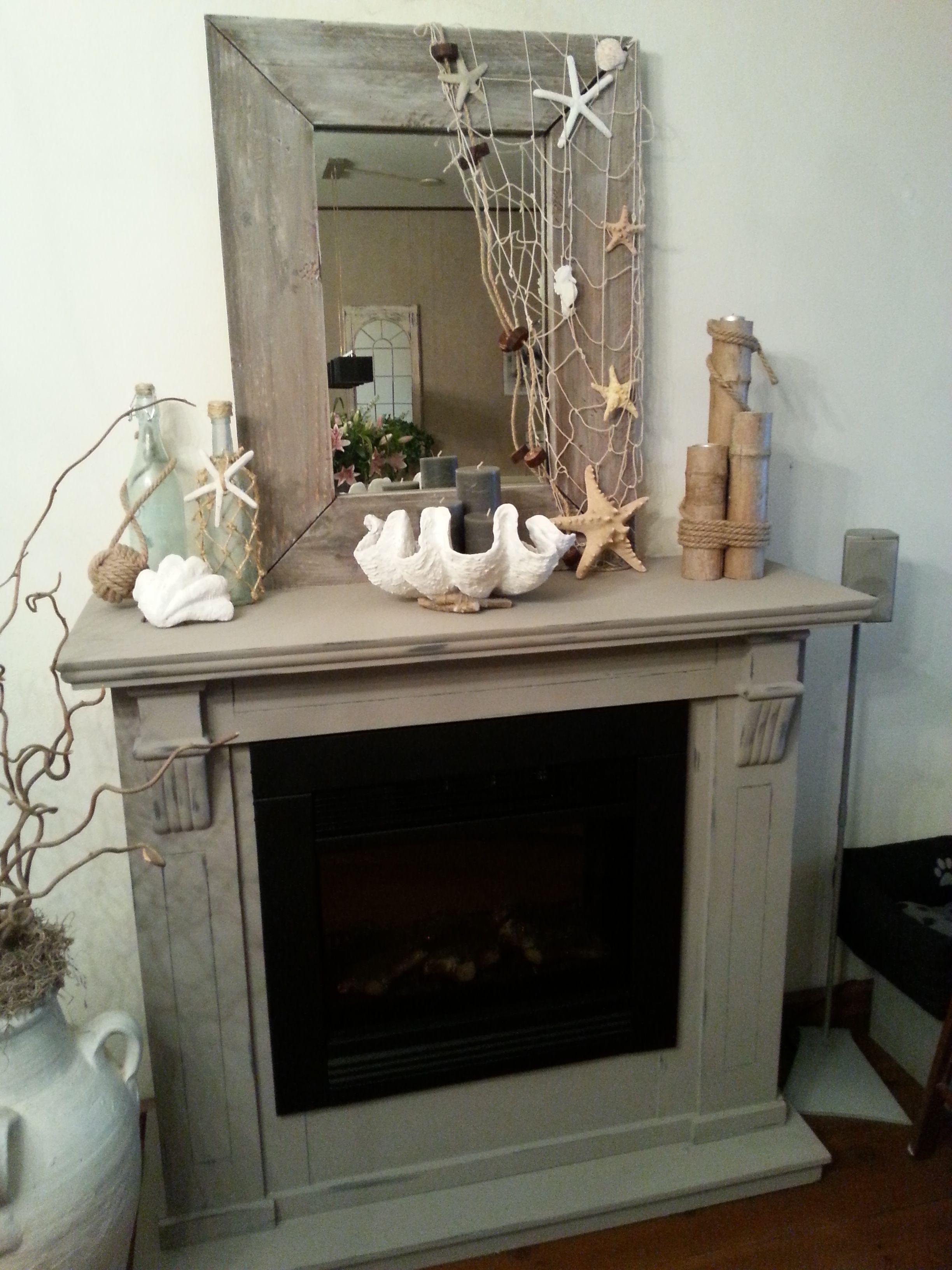 Schouw chalkpaint zelfgemaakte spiegel en decoratie