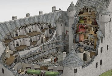castle medieval kilchurn castles reconstruction inside historical fantasy illustrated scottish cutaway anatomy interiors scotland interior ages ancient drawings architecture models