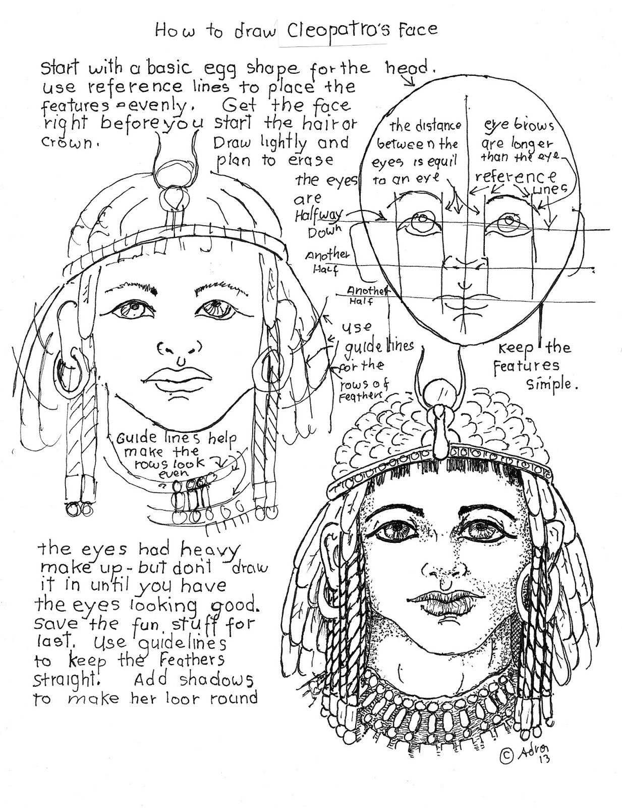 How To Draw Cleopatra S Face Worksheet Drawing