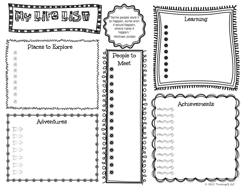 Kid's Life (Bucket) List Activity- free printable with