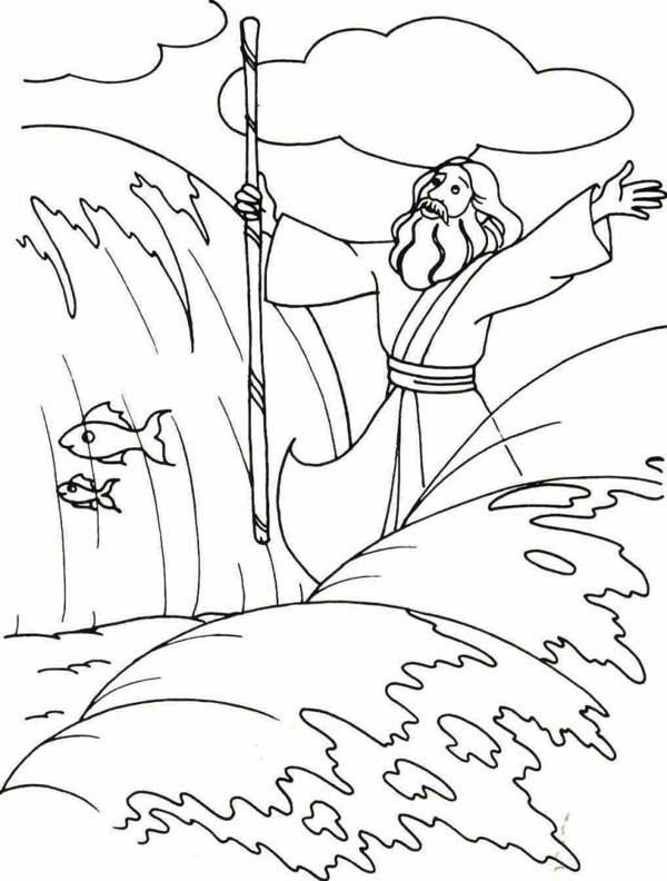 Moses, : Moses Divide the Red Sea with His Stick Coloring