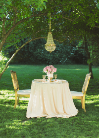 Sweetheart table, dining for two, long table cloth ...