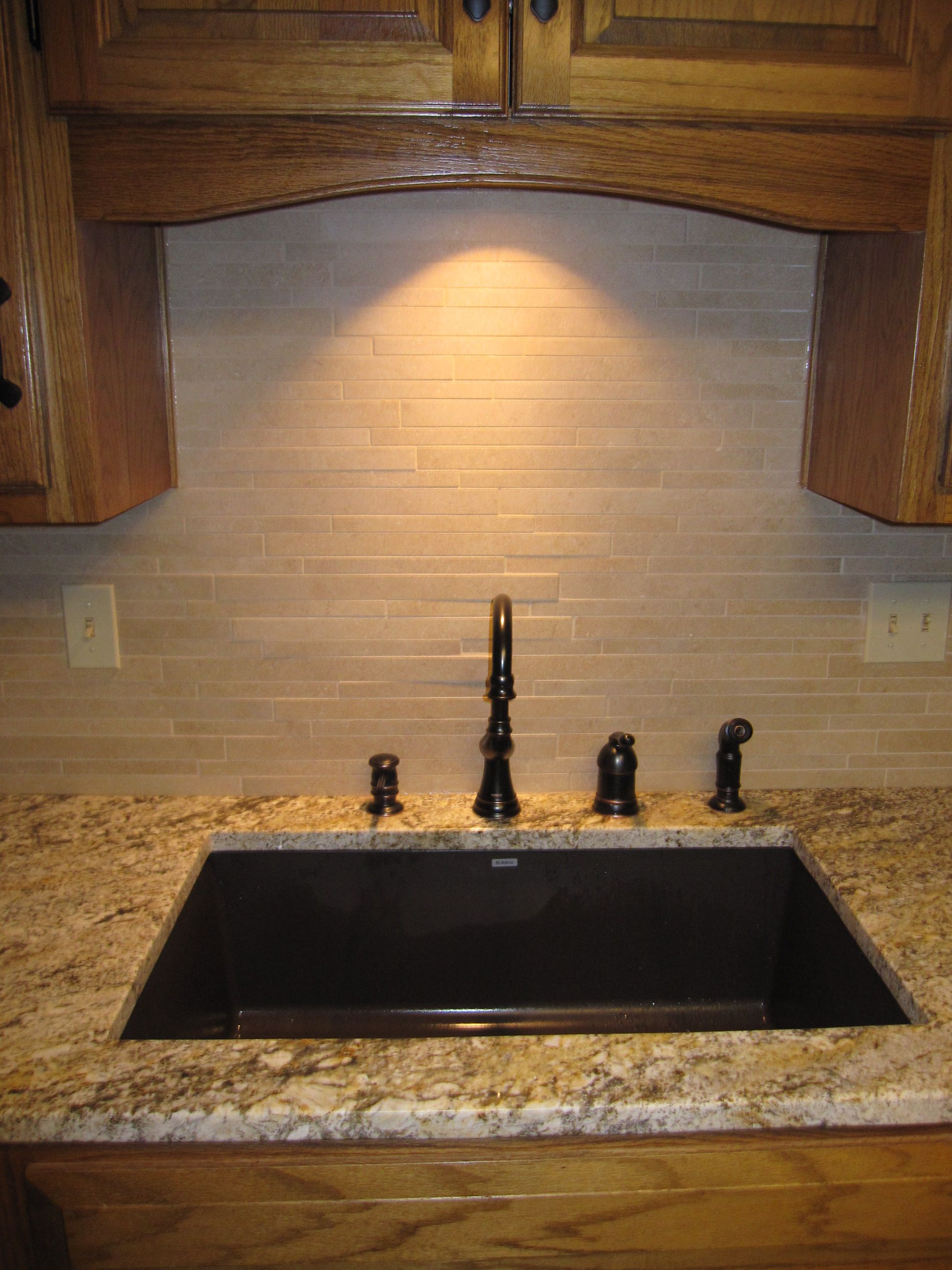 composite countertops kitchen trash bins granite sink in top travertine