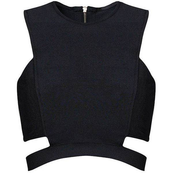 Posh Girl Black Cut Out Bandage Crop Top 88 liked on Polyvore featuring tops crop top multi