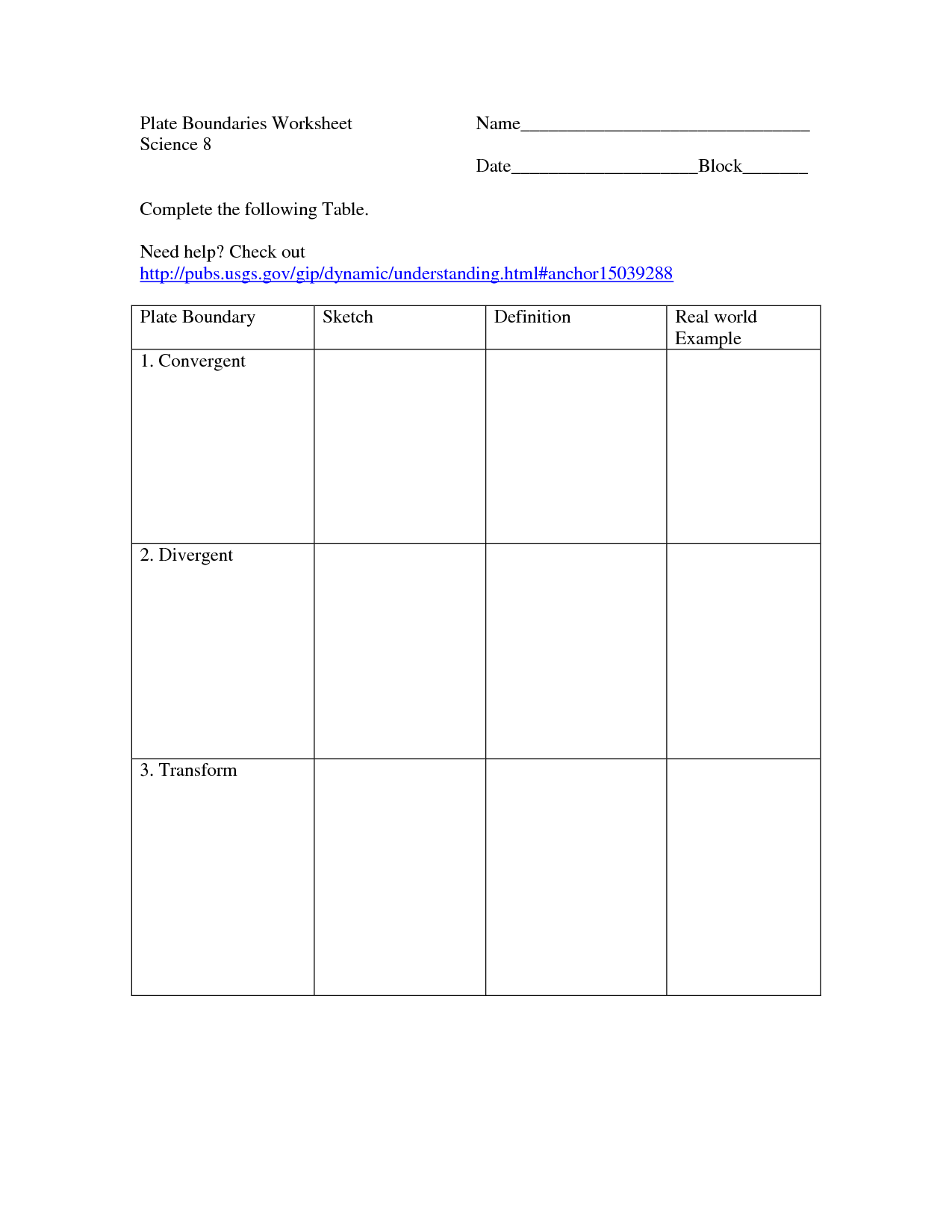 Understanding Boundaries Worksheet