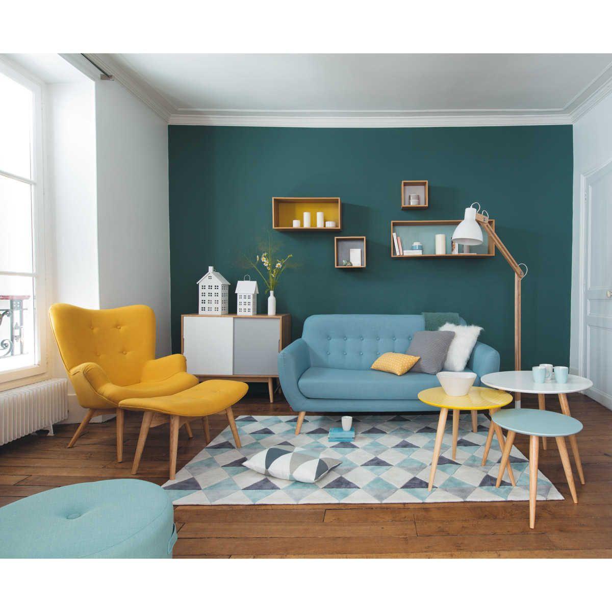 Canape places retro bleu iceberg livingroom inspiration pinterest blue yellow and living rooms also rh