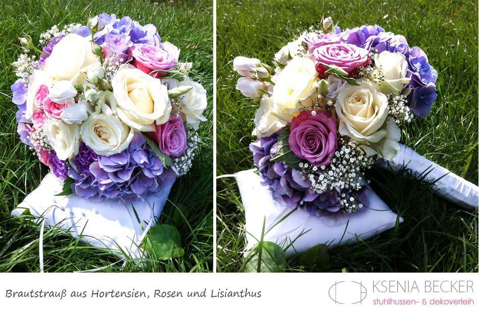 brautstrauss rund hortensien nelken schleierkraut rosen
