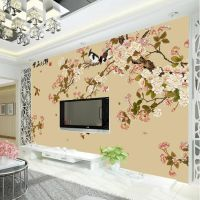 Elegant Bird and flower Wallpaper Custom 3D Wall Mural ...