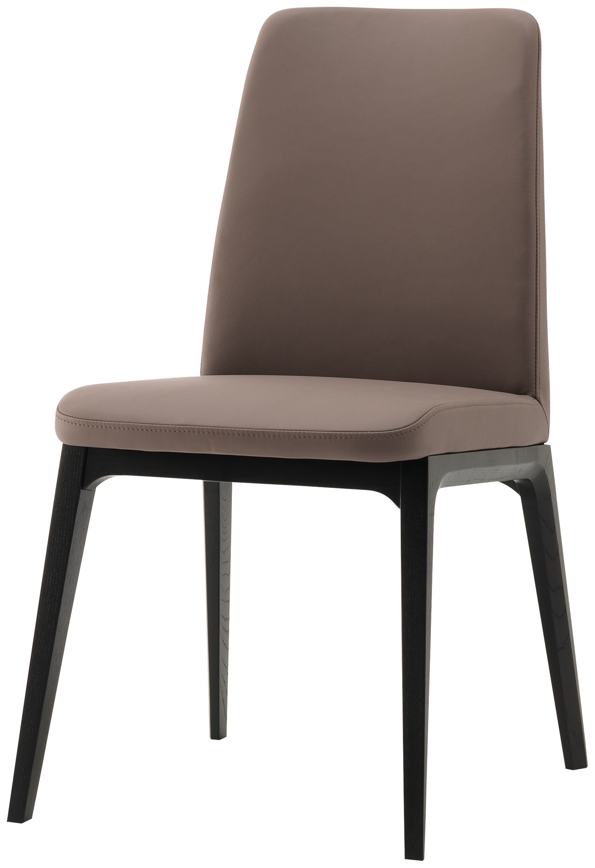 Contemporary Dining Chairs Lausanne Dining Chair Bahia Stone Leather Black Stained