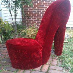 Leopard High Heel Chair Animal Print Swivel Office Handmade Solid Red Shoe My Things For