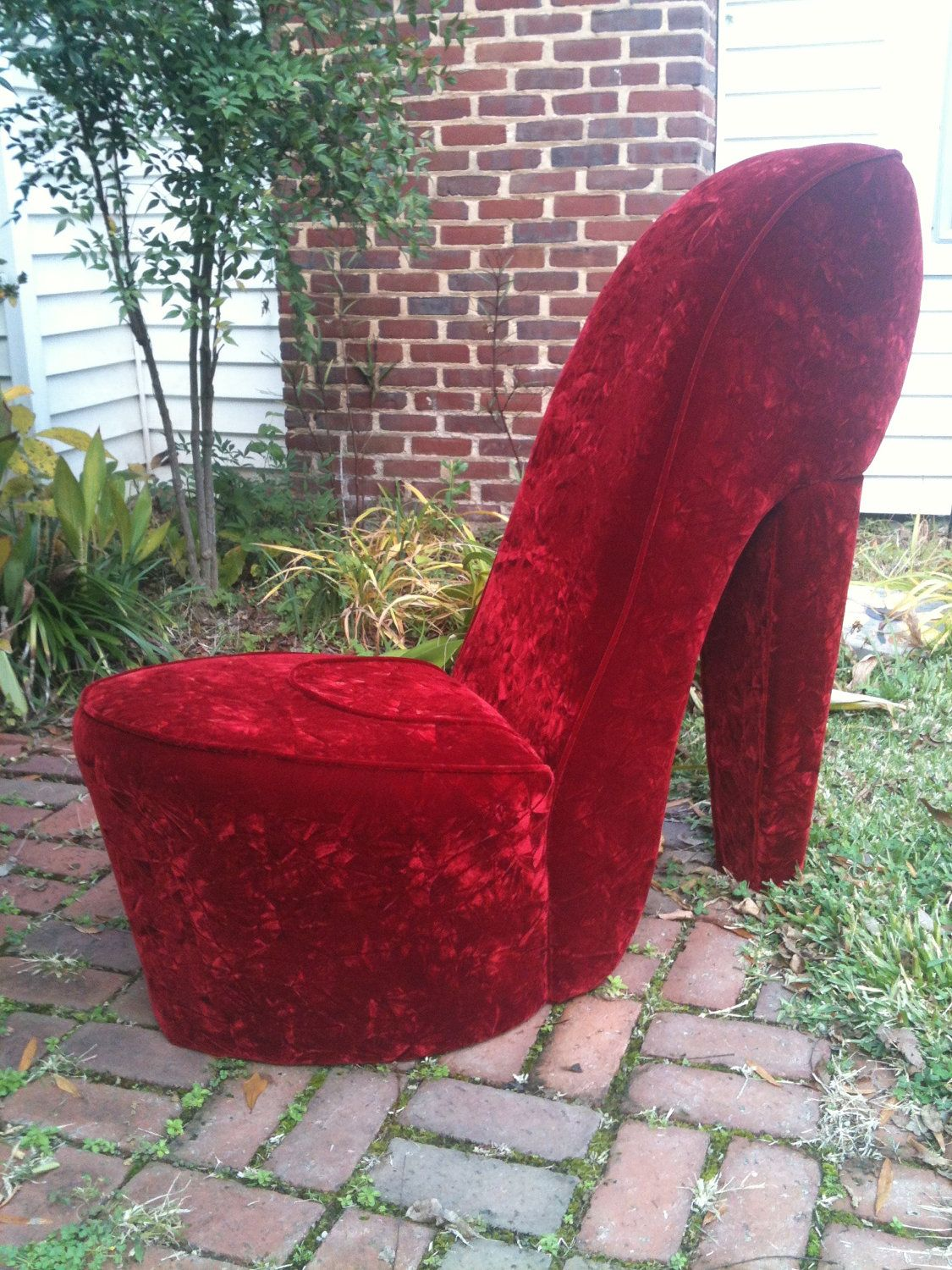 high heel chair small travel beach chairs handmade solid red shoe my things for