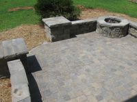 Paver patio with retaining wall and fire pit | Back Yard ...