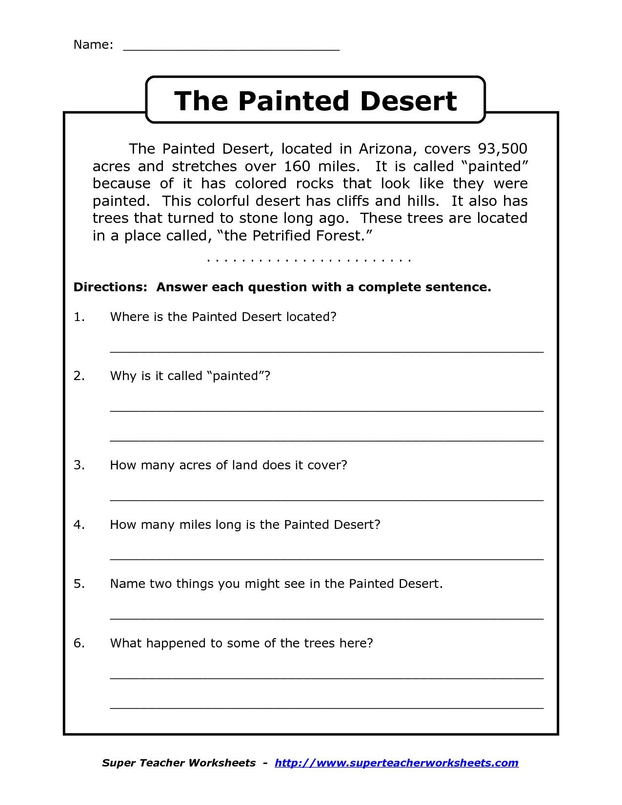 Comprehension Worksheet For 1st Grade Y2 P3 The Painted Desert Arizona Don T Forget To Edit