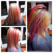 cotton candy hair color. peek-boo