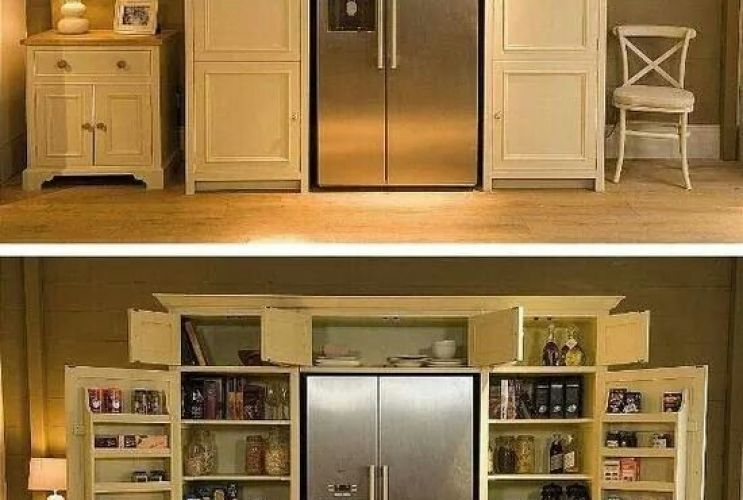 Pantry With Fridge Kind Of Like This Rather Than Walk In Also Would Be Perfect Where Build Cabinets Around