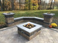 Paver patio with natural gas fire pit, two gas fire ...