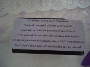 Spruch fr Einwegkameras an der Hochzeit  Wedding