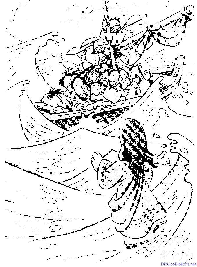 Jesús camina sobre el agua, milagros de Jesus, dibujo para