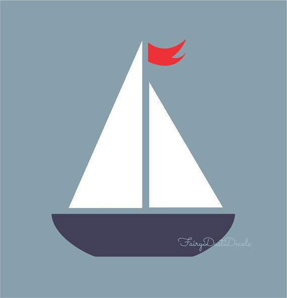 Sailboat wall decal nautical boat boy nursery decor also create  feeling to any room with this art rh pinterest