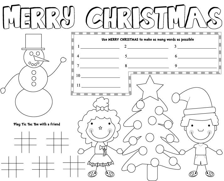 christmas placemats, free printable christmas games, kids