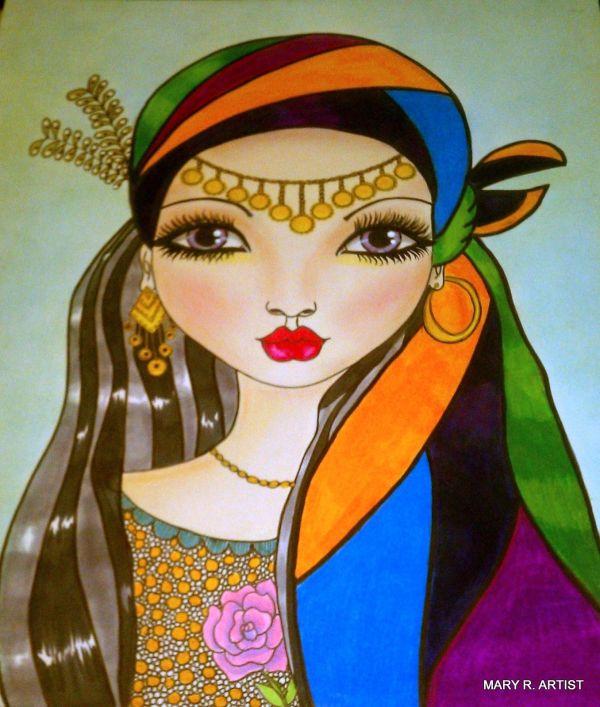 Mixed Media Art Girl Face