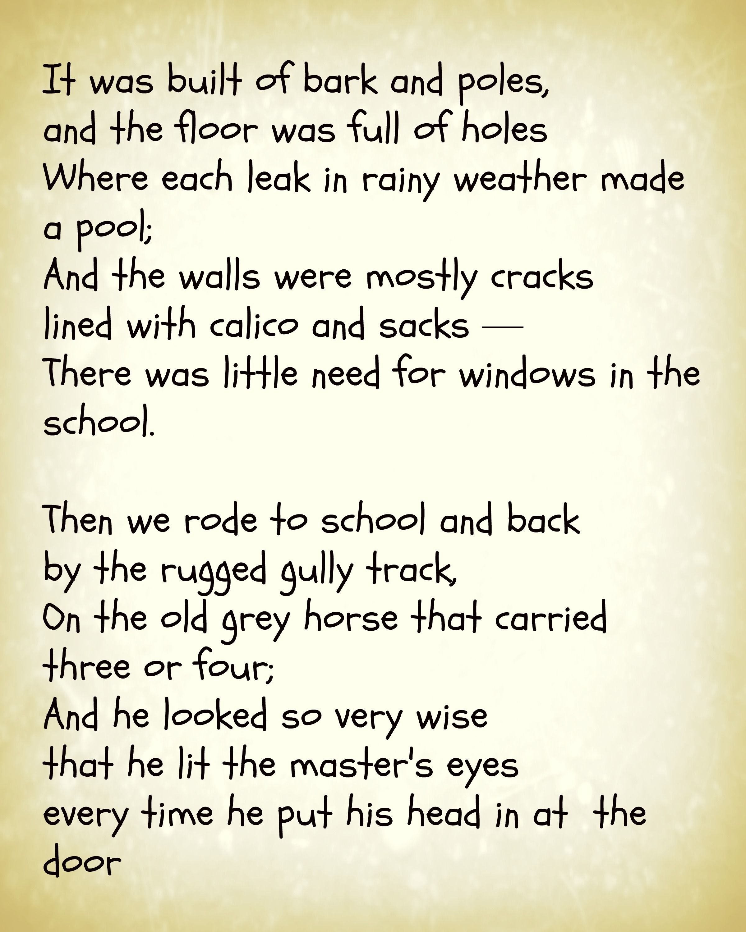 From The Old Bark School By Henry Lawson