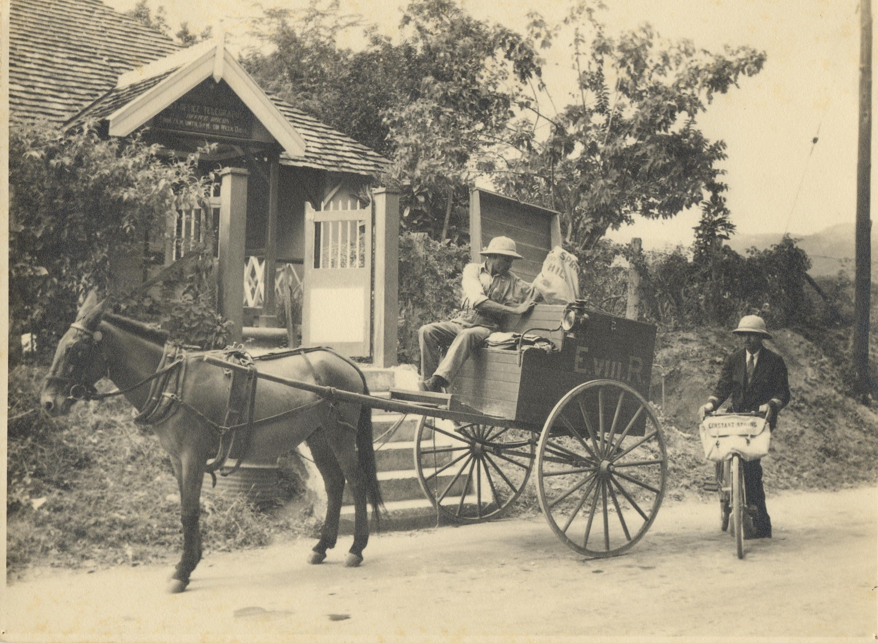 Old Photograph Of Jamaican Post Office And Mailmen From