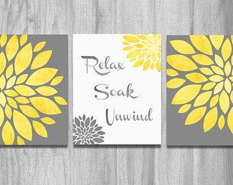 Yellow gray wall art floral burst home decor flowers and chevron dahlia pictures bedroom modern bathroom set of prints  also rh pinterest