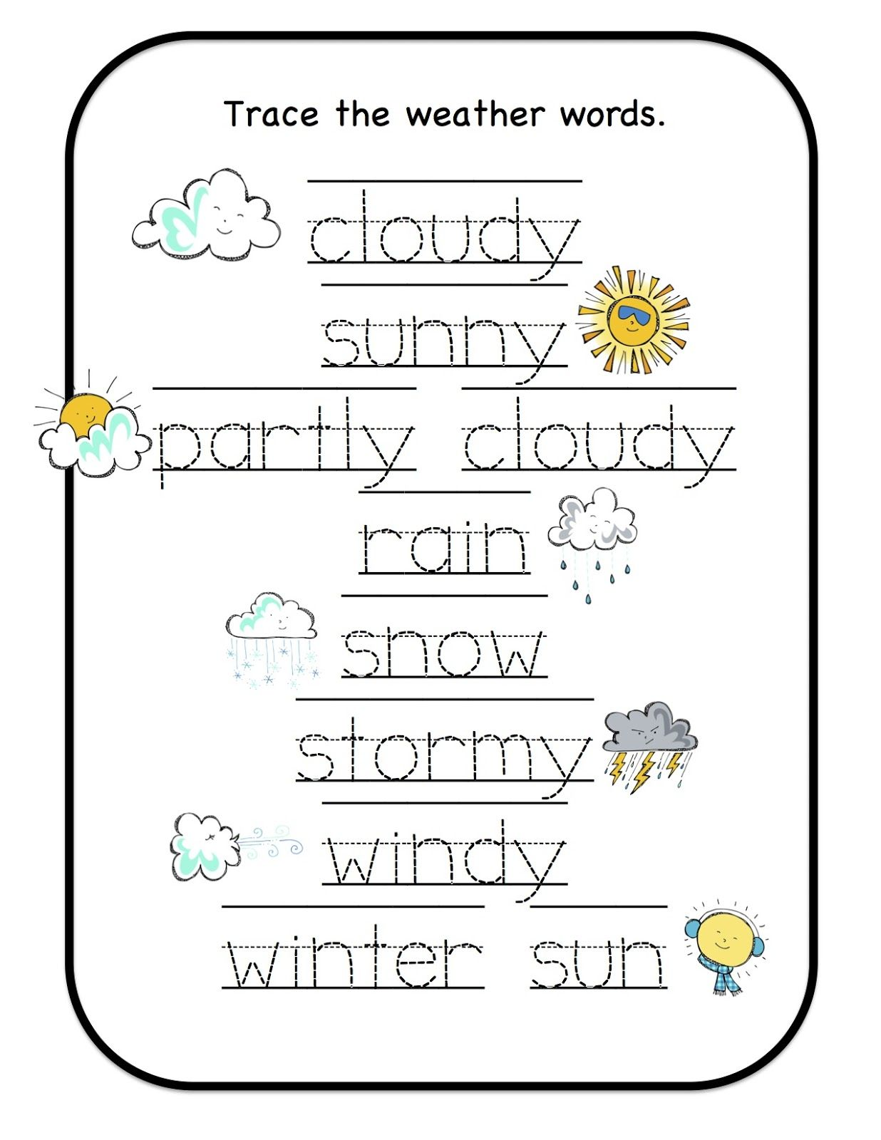 Weather Preschool Worksheet Christmas