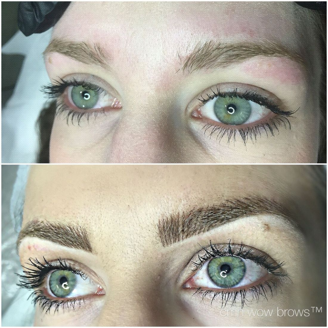 Natural eyebrow tattooing hair stroke feather touch