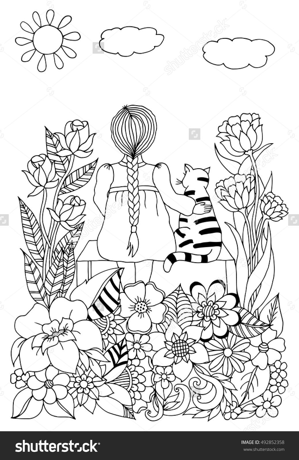zentangle girl with cats in colors sitting on a bench