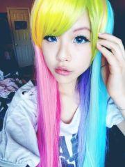 kawaii rainbow hair asian pretty