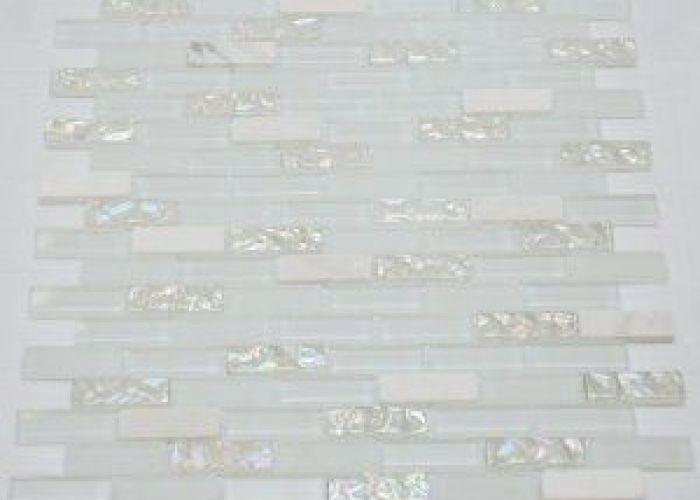 brick pattern glass tile color white  also