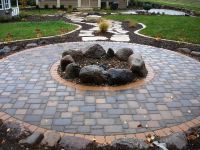 fire pits | Cobble pavers with boulder firepit | fire pit ...