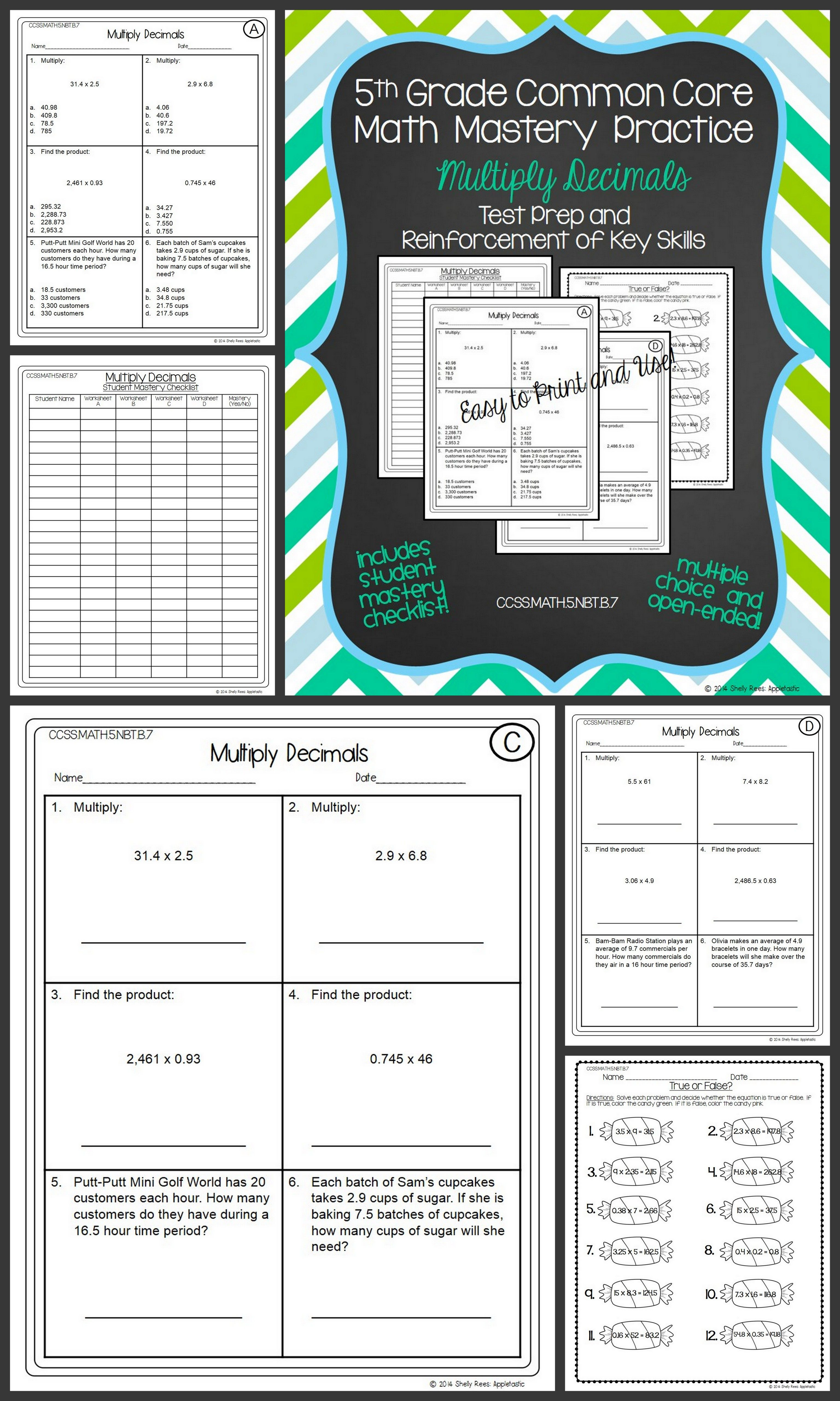 Multiplying Decimals Worksheets